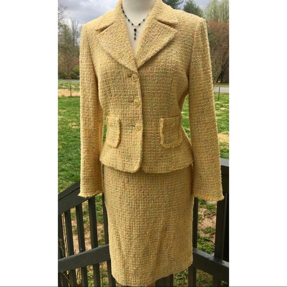 Tahari Skirts Womens Skirt Suit Yellow Boucle Size 10 Poshmark